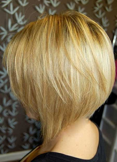Short layered bob haircut back view