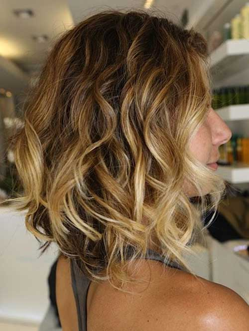 A-Line Curly Bob Haircut Ombre