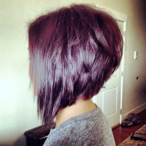 ... Bob Haircut Back View in addition Long Stacked Bob Hairstyles Front