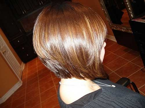 Back View of Brown Inverted Bob Hair