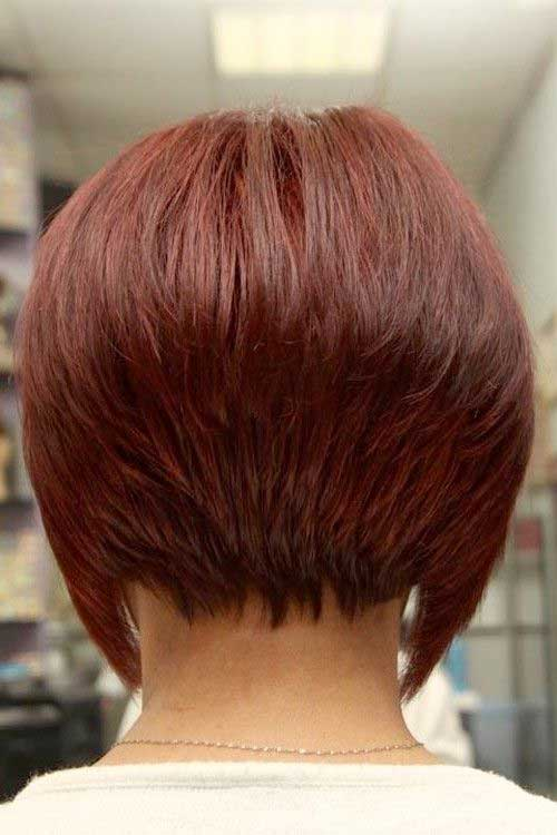 Chic Inverted Red Bob Back View