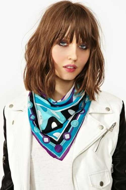Long Layered Bob with Blunt Bangs