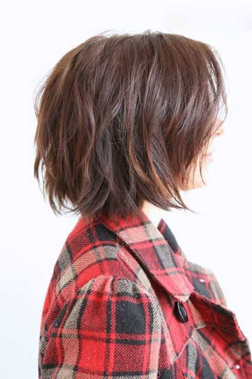 Long Layered Short Angled Bob