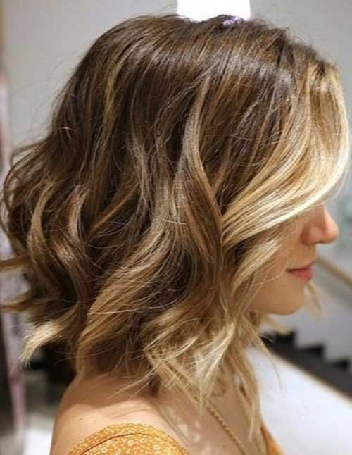 Long Wavy Angled Bob with Ombre