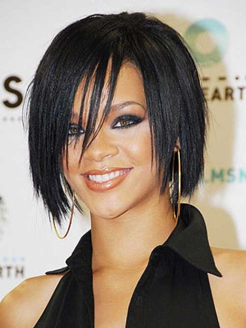 Rihanna Thin Bob Hairstyles