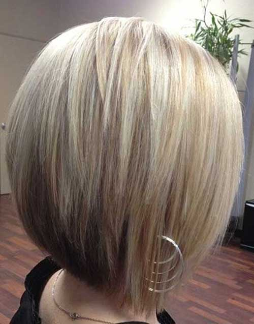 Blonde Layered Bob with Brown Underneath