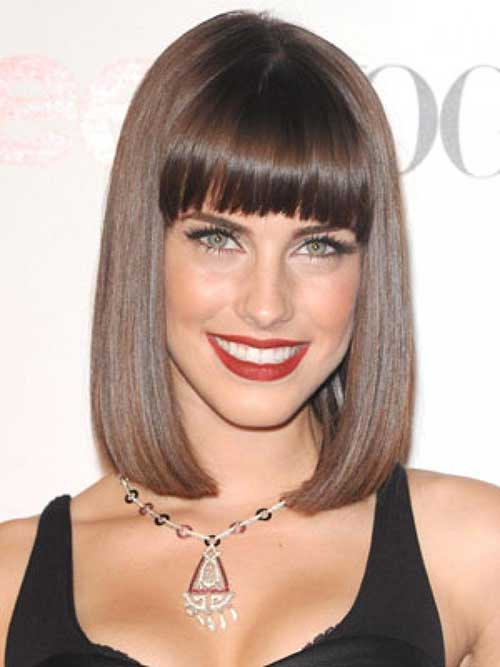 Brunette Bob Haircuts with Bangs