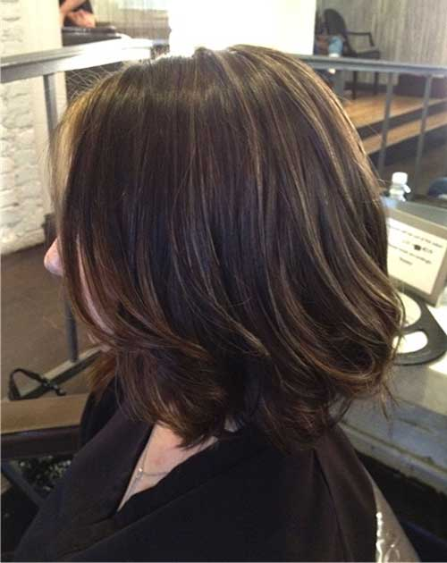 Brunette Highlights Short Bob Hair