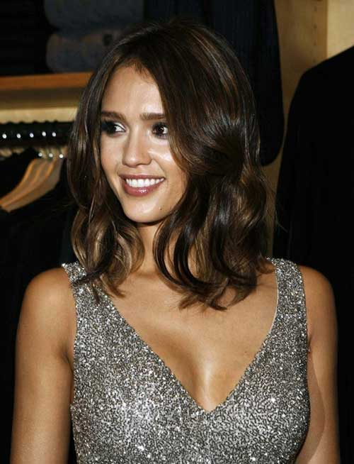 Jessica Alba Long Brown Bob