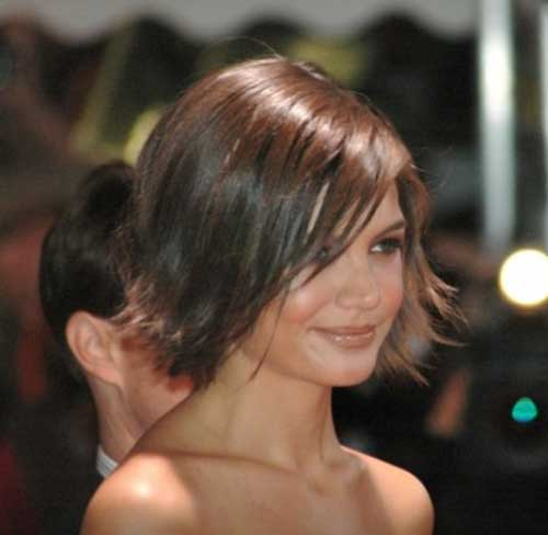 Katie Holmes Choppy Bob with Bangs