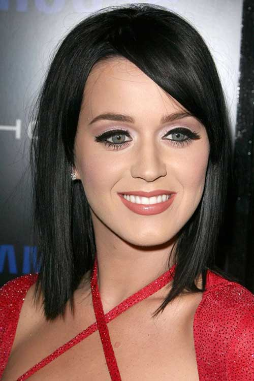 Katy Perry Long Dark Bob Hair