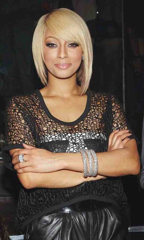 Keri Hilson Side Parted Bob Hairstyles