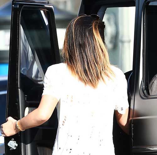 Kylie Jenner Long Bob Haircuts Back View