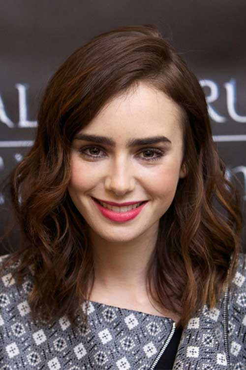 Lily Collins Dark Bob Hair
