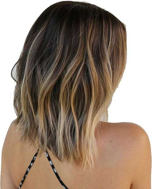 Wavy Long Bob Ombre Hairstyles Back View