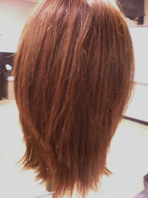 Red Long Layered Bob Haircuts Back View