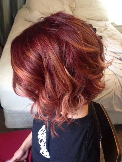 Red Balyage Bob Hair