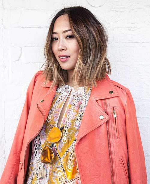 Balayage with Wavy Long Bob Haircuts