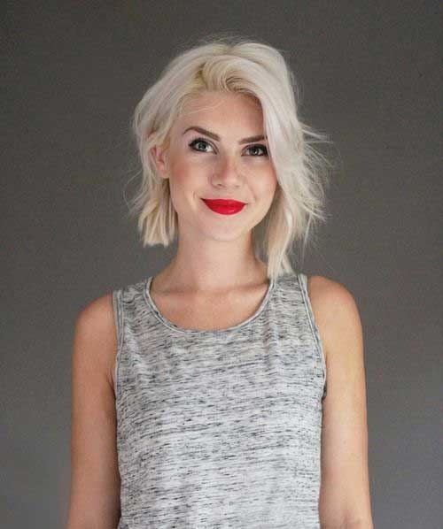 Bobs with Platinum Hair Color