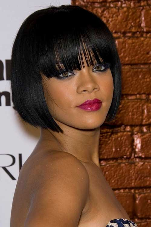Celebrity Blunt Bob with Bangs Hairstyles 2014-2015