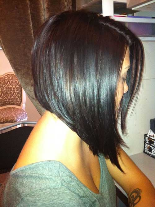 Inverted Straight Dark Bob Haircuts