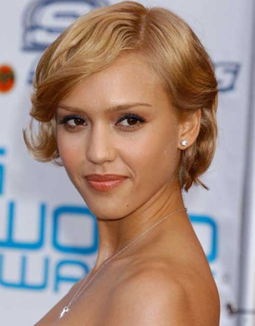 Jessica Alba Short Curly Blonde Bob Hair