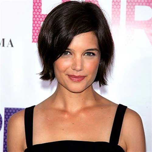 Katie Holmes Side Swept Bob Hair