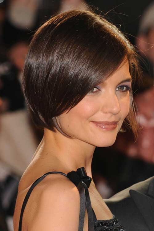 Katie Holmes Straight Side Swept Bob Hair