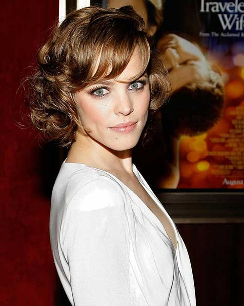 Light Brown Curly Wavy Bob Haircut