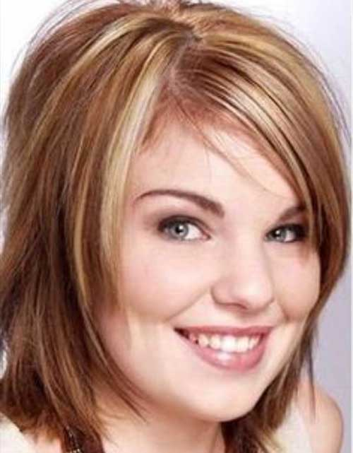 Long Bob Hairstyles with Layered Bangs for Round Face