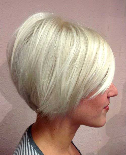 Short Bob Cut with Platinum Hair Color
