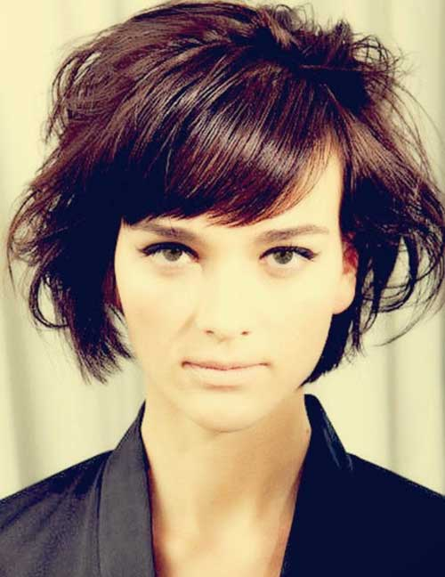 Wavy Short Bob Cut with Side Bangs