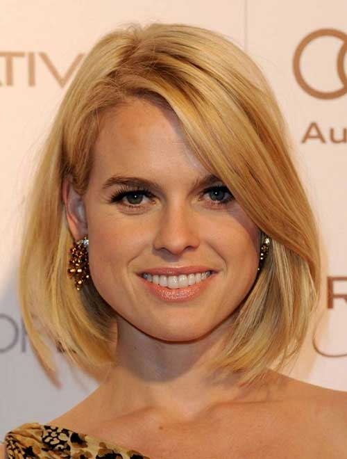 Straight Long Bob Hairstyles Ideas for Round Face