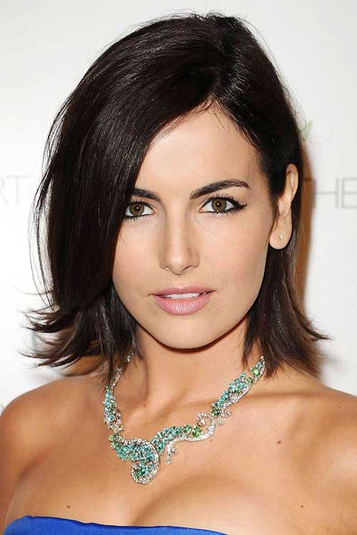 Straight Side Swept Dark Bob Hairstyles 2015
