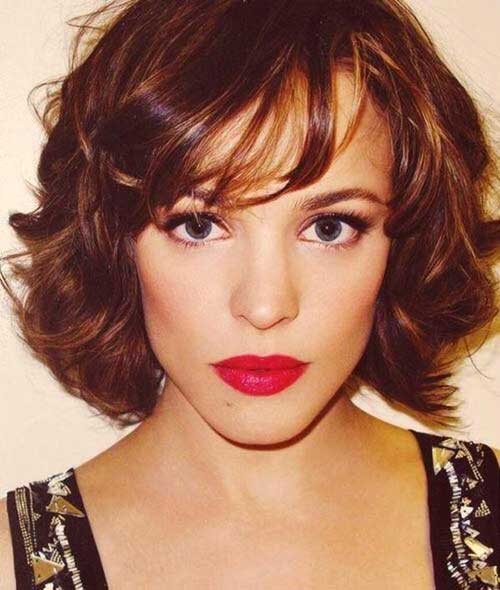 Wavy Curly Bob Hairstyles Brown Color