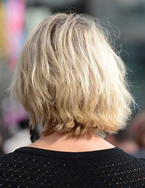 Back View of Wavy Blonde Bob Haircuts