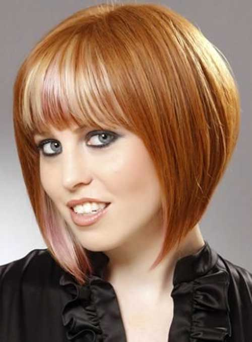 Bangs with Concave Short Bob Hairstyle