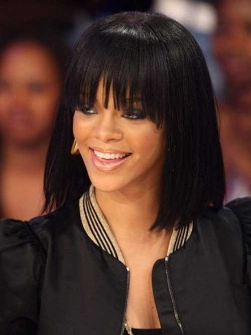 Black Women with Bob Hairstyles with Bangs Ideas