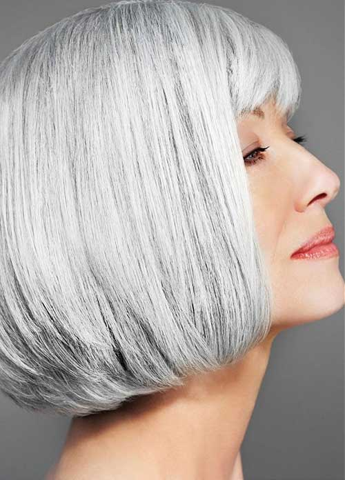 Blunt Bob Haircuts with Bangs for Older Ladies