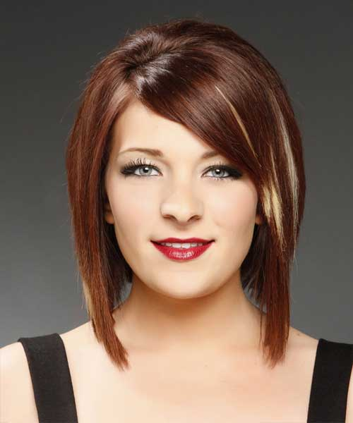 Concave Bob with Side Bangs Hairstyle