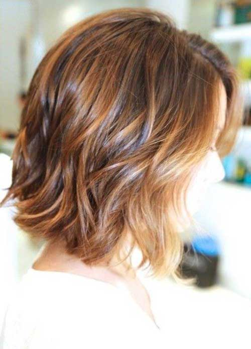 Caramel Layered Medium Length Bob Haircut