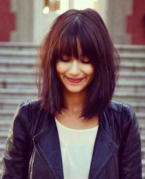Long Bob Hair Cut Styles with Fringe