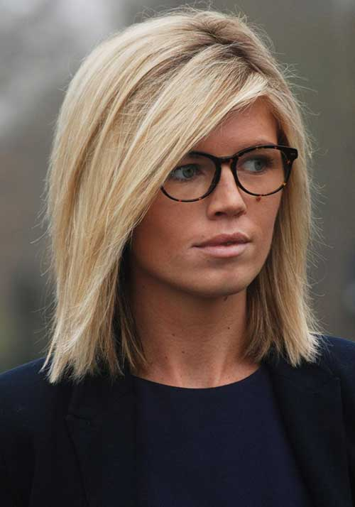 13. Medium Length Side Parted Blunt Bob Haircut