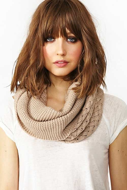 Messy Medium Length Bob Hairstyle With Bangs