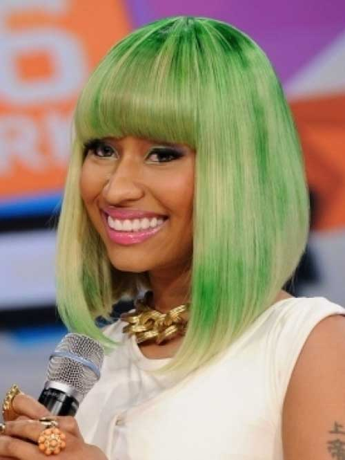 Nicki Minaj Green Bob Hairstyle
