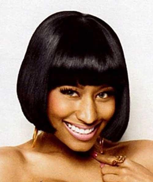 Nicki Minaj Dark Hair Bob Cut