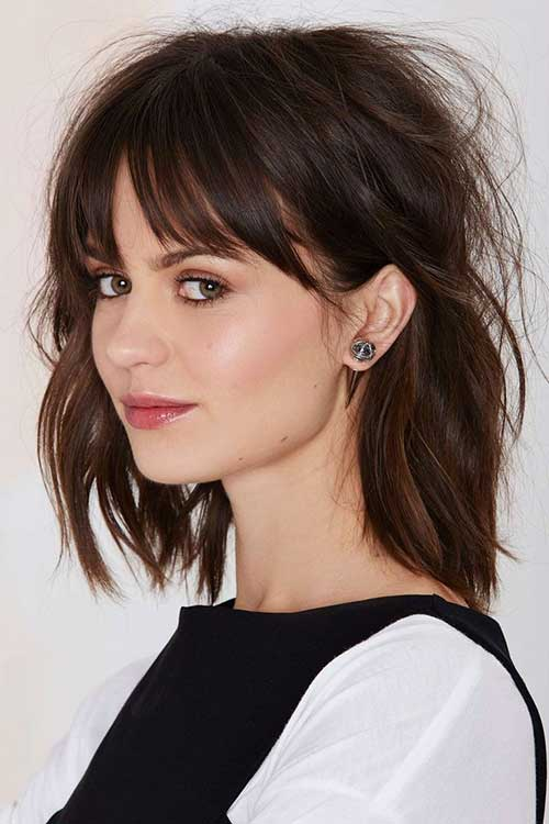 Perfect Long Bob Haircut with Bangs Idea