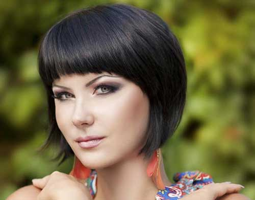 Short Dark Bobs for Round Faces 2014