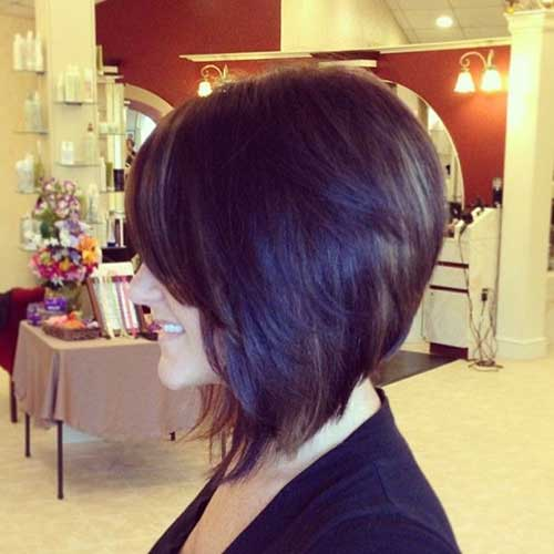 Short Inverted Thick Dark Bob Cuts