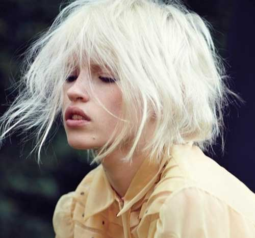 White Blonde Bob Messy Hairstyles